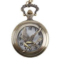 Unisex Bird Alloy Analog Bronze fashion Quartz Vintage Retro Pocket Watch with KEY Chain hot selling gift