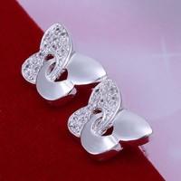 1 pair fashion Women girl Silver Plated rhinestone butterfly stud earring jewelry new