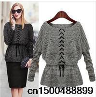 2015 NEW Fashion women jumper Pullovers Sweater Batwing Sleeve Slim Waist Lacing Belt Outwear Crochet Kint Winter Sweaters