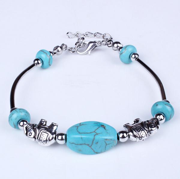 Tibetan Silver Filled Cuff Bracelets For Women, Black Leather Chain Elephant Ball Beads Charm Bracelet Turquoise Stone Wristband(China (Mainland))