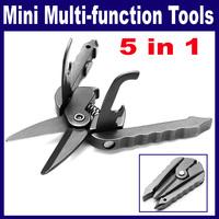 2 pcs/Lot  _ 5 in 1 Multi-function Practical Mini Scissors Screwdriver Can Bottle Opener Tools Set