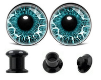 free ship 1pair Black UV Acrylic Human Eye Aqua Explosion Screw ear plug tunnel jewelry body piercing