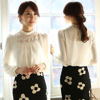 Women Leisure Long Sleeve White Lace Floral Chiffon Blouse Shirt Tops