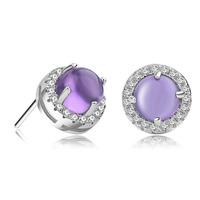 Gemstone Earrings Christmas Gift 100% Sterling Silver Jewelry Romantic Nature Purple Ross Quartz Stud Earrings Top Quality!!