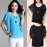 NEW Fashion Women Loose Chiffon Tee Top Batwing Short Sleeve Shirt Casual Blouse