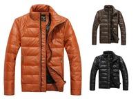 Hot 2015 Casual Dress Men Winter Coat Fashion Color Coats Male Parkas jecket vestidos Long Sleeve White Duck Natural Size XXL