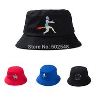 2015 Spring Women cartoon embroidered bucket cap men outdoor recreation fisherman hat Free Shipping 5 PCS