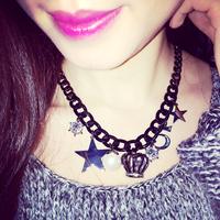 Korea Limited Crown created Diamond Star multielement short necklace