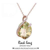 2015 Rock Long Retro Korea Style Diamante Accessories Crystal Necklace Pendants For Women Prata