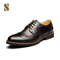 2015 New Men's Brogues Pointed Toe Dress Shoes Formal Leather Business Shoes Oxford British Style Size 38-44
