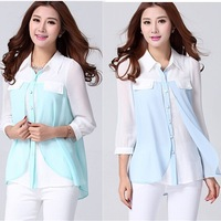 Special offer. 2015 Spring Summer Korean Popular Plus Size Women's Dovetail Chiffon Blouse xxxl Free Shipping