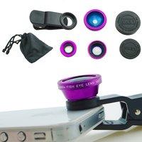 Camera Lens Kit - Fish Eye Lens /3 in 1 Macro Lens & Wide Angle Lens / Universal Clip (Purple)