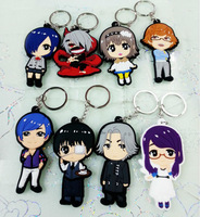 Cheap wholesale Hot Selling Japanese anime Tokyo Ghoul Kaneki Ken PVC Keychain Set 80 pcs/lot Anime Toys Free Shipping