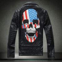 fashion brand leather jacket men skull pattern diamonds genuine Leather jacket motorcycle leather jacket suede. Free Shipping