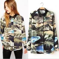 Ladies casual Turn-down Collar Blouse scenery printed Long sleeve Woman Shirts retail
