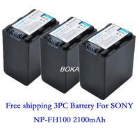 Free shipping 3 pc 7.2V 2100mAh NP-FH100 rechargeable Battery NP FH100 Camera batteries for Sony XR500V XR500VE XR200V XR200VE