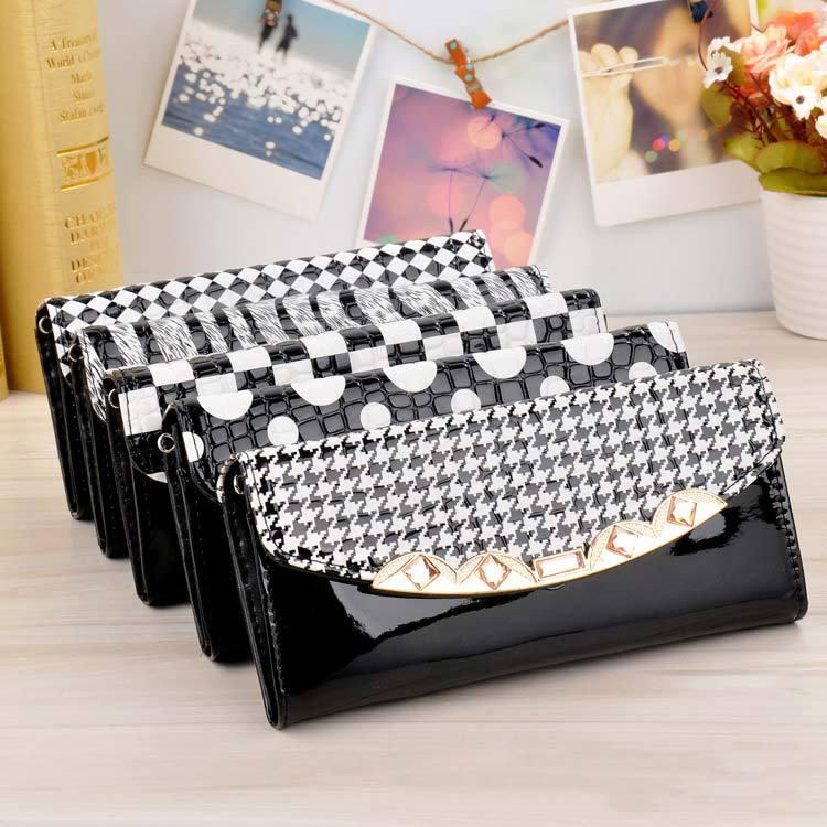 Women's Elegant Plaid Stripe Zebra Print Square Grid PU Leather Wallets Purse Office Leadies Fashion Handbag Clutches Bags(China (Mainland))