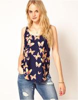 New Women Summer Loose Design  Blue Butterfly Print Chiffon Blouse O Neck Sleeveless Tops Roupas Femininas Clothing Shirt X6