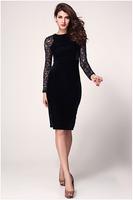 Summer New Fashion Black Women Dresses Lace Ladies Slim Dress for women  HM165