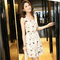 Vestidos Femininos 2015 Summer Women Dress Casual Sleeveless Print Chiffon Dress Vintage Vestido Formal Dresses