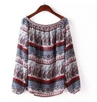 Fashion Women Chiffon Blouses Spring New Vintage Print Long Sleeve Shirt Tops S M L Plus Size Blusas Femininas Casual Blouse