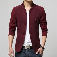 2015 Men Clothing Chinese Tunic Suit Jacket Fashion Man Long Sleeve knitted sleeve Slim Casual blazers Jacket Coat  FreeShipping