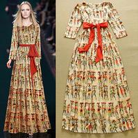 European 2015 Spring Fashion Woman Vintage Ethnic Print Boho Long Maxi Dress Resort Collections Casual Beach Full Length Dresses
