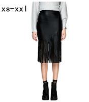 XS-XXL New Arrived Skirt Of Women Fashion Spring And Summer PU Tassel Patchwork Bust Skirt High Waist Slim Hip Skirt