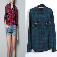 2015 blusas femininas Collar Cotton Plaid Print Shirt Ladies camisa xadrez Rivet Blouse Casual  women blouses roupas femininas