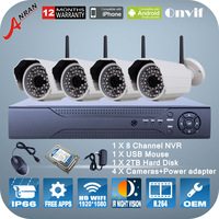 HD 1080P 2.0Megapixel IR Night Vision P2P Mini WIFI Camera ONVIF H.264 8 Channel NVR 2TB HDD Wireless Video Surveillance System