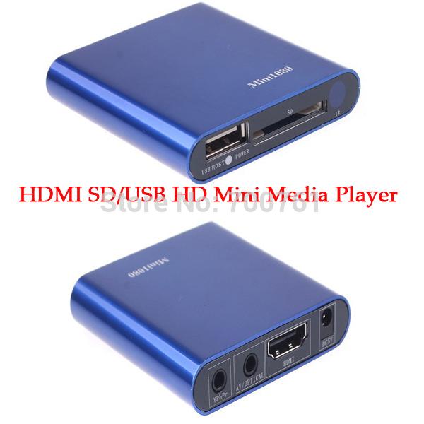 5pcs Mini HDMI SD/USB Host HD Media Player 1080P AV audio output car media player support MKV/RM/RMVB with Remote Control(China (Mainland))