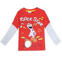 2015 New Design Boys Cartoon Olaf T-shirt Cute Pattern Long Sleeve Tees Children Kids T Shirt Spring Autumn Clothing