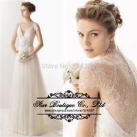 2015 New Custom A-Line Deep V-Neck Cap Sleeve Backless Tulle/Lace Bridal Gown/Wedding Dress Vestido De Noiva