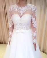 Free Shipping A Line 2015 Fashionable Wedding Dress with Fulle Sleeves custom size&color