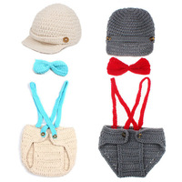Little Gentleman Outfit Knitted Baby Beanie Hat with Suspenders Bow Tie Set Boy Newborn Photography Props 1set H194