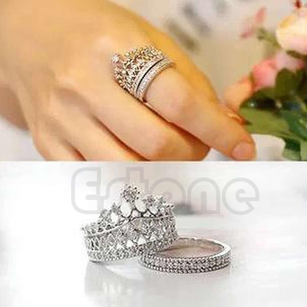 Retro Women White Sapphire Gem Lady Silver Crown Wedding Band Ring Set Size 5-8(China (Mainland))