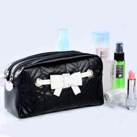 New bow cosmetic bag double zipper storage bag women makeup organizer bag outdoor casual travel clutch case bag waterproof black