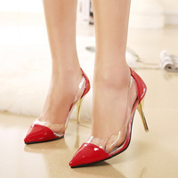 2015 new sexy women pumps  Europe and America spell color patent leather pointed high-heeled women shoes