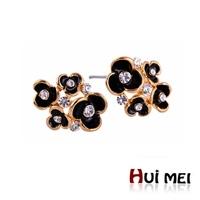 Noble Cute Crystal Enameling Statement Gold Plated Stud Earrings Bijoux for Women Girls