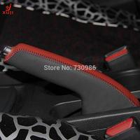 XuJi Red Black Genuine Leather Handbrake Cover for Nissan Tiida 2011