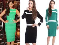 Women Dress New 2015 Vestidos Femininos Fashion Party Dresses Stripe Patchwork Tropical plus size dress