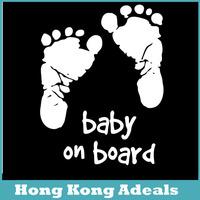 Car Stickers Cool Cute Baby on Board Car Styling Motorcycle Sticker Vinyl Decal Waterproof Footprint Car Accessory