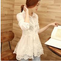 Elegant Women Work Wear Chiffon Blouse Lace Long Sleeve Clothing Embroidery Camisa Feminina Mesh Blouse free shipping