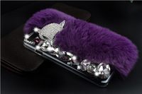Fox head Warm Fur Luxury crystal Diamond back cell phone case cover For Apple iphone6 plus iphone 6 plus 5.5inch
