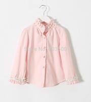 2015 Baby Girls Korea Pink Beading T-shirt  Princess Elegant Fashion Flower Trim Sleeve Blouse 5 pieces/lot, Wholesale