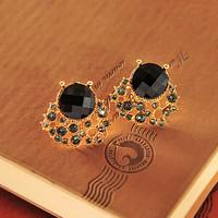 fashion Rhinestone black gemstone ear stud earrings