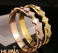 Clover diamond bracelet New Year gold-plated rose gold diamond bangle bracelet titanium does not fade Ms.