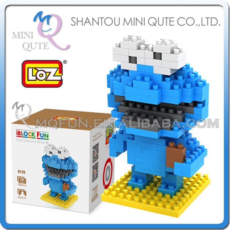 128pc/lot Mini Qute loz kawaii Sesame Street Cookie Monster nano block plastic building block brick educational toy game NO.9119(China (Mainland))