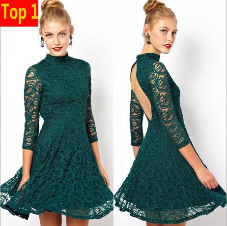 Robe en dentelle des femmes patineur 2015 été, nouvelle mode dos nu, 3/4 manches. vintage. élégante robe de soirée de bal courte vestido de festa1253