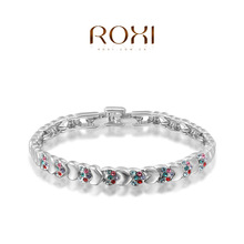 1PCFree shipping 2015 new Top quality Multicolor zircon bracelet love connection